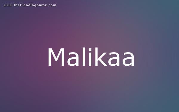 Baby Name Poster For Malikaa