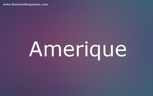 Baby Name Poster For Amerique