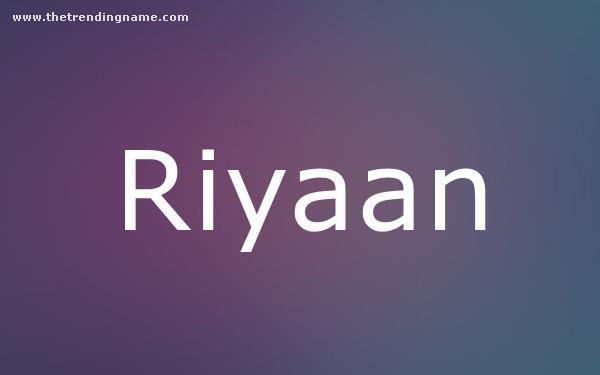 Baby Name Poster For Riyaan