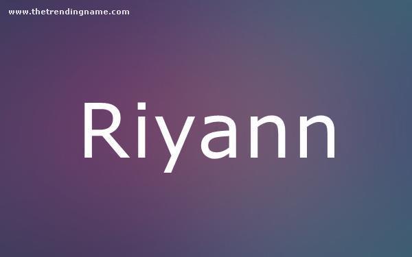 Baby Name Poster For Riyann