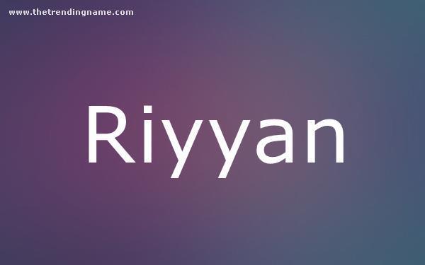 Baby Name Poster For Riyyan