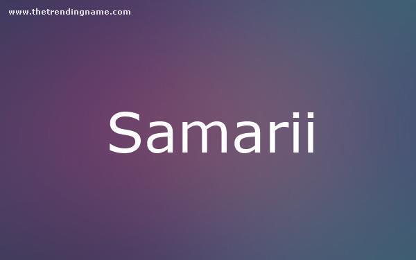 Baby Name Poster For Samarii