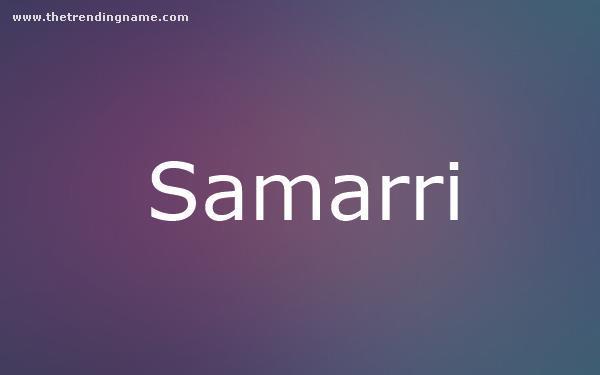Baby Name Poster For Samarri