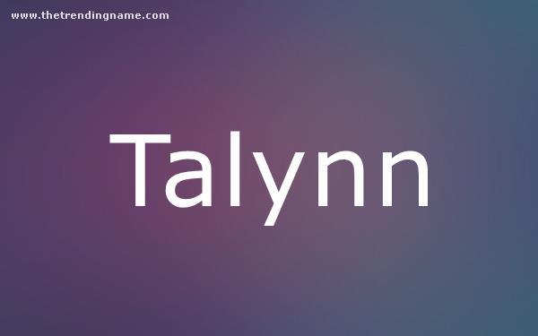 Baby Name Poster For Talynn