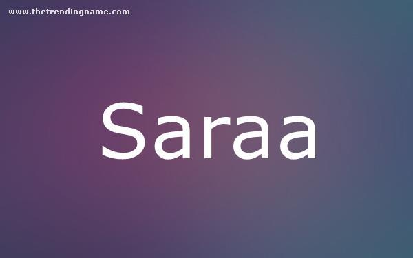 Baby Name Poster For Saraa