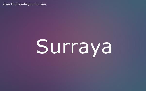 Baby Name Poster For Surraya