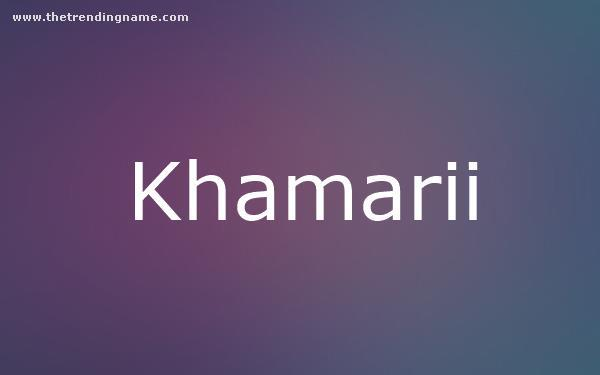 Baby Name Poster For Khamarii