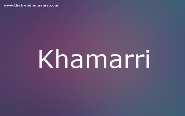 Baby Name Poster For Khamarri