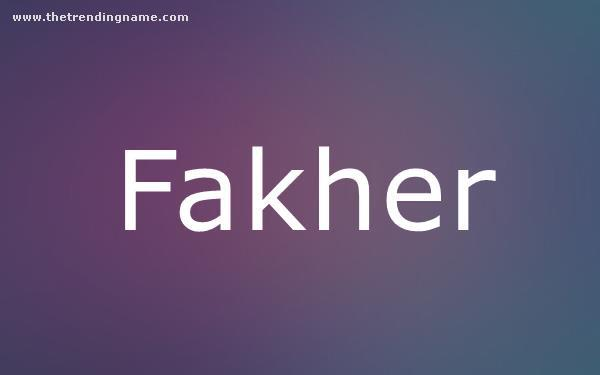 Baby Name Poster For Fakher