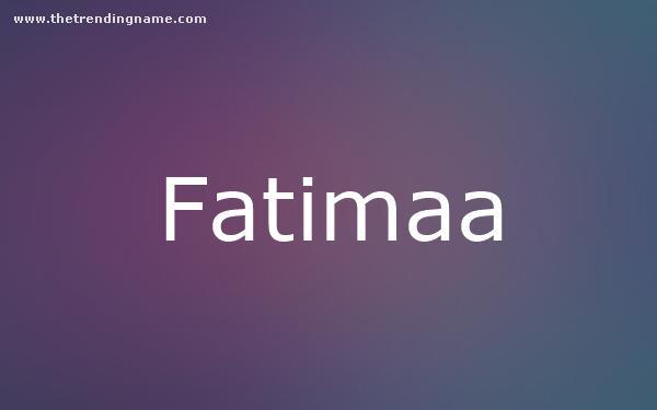 Baby Name Poster For Fatimaa