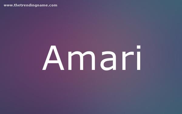 Baby Name Poster For Amari