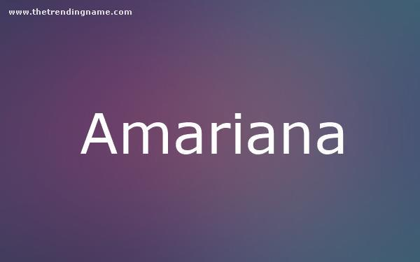 Baby Name Poster For Amariana