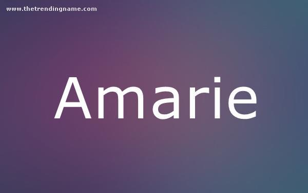 Baby Name Poster For Amarie