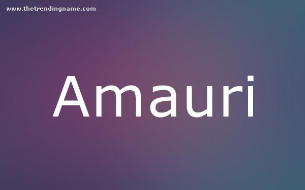 Baby Name Poster For Amauri