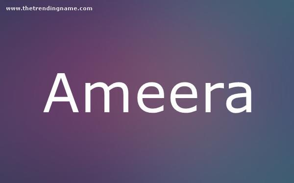 Baby Name Poster For Ameera