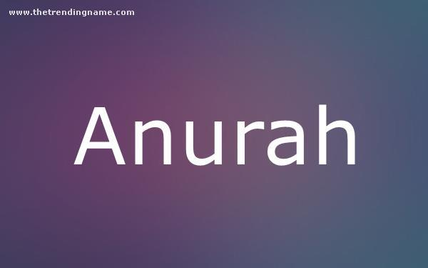 Baby Name Poster For Anurah