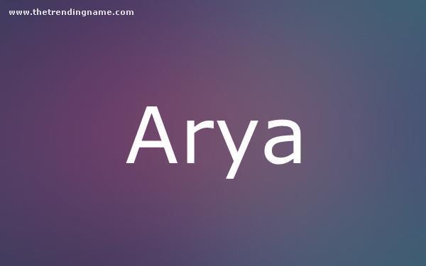 Baby Name Poster For Arya