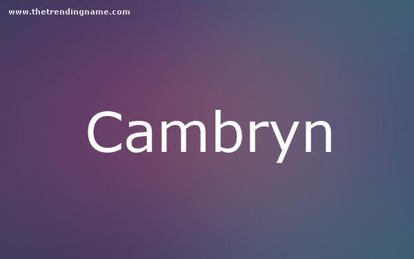 Baby Name Poster For Cambryn