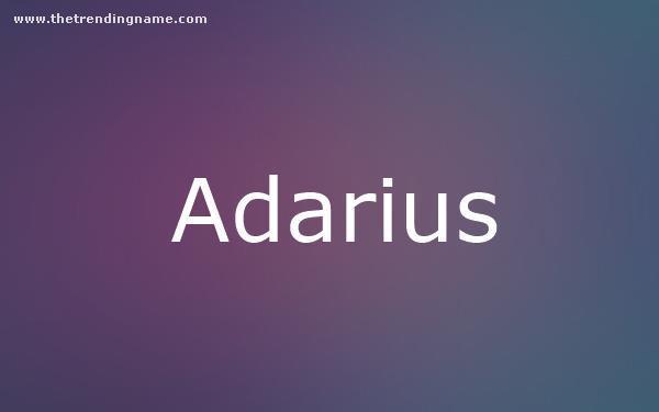 Baby Name Poster For Adarius