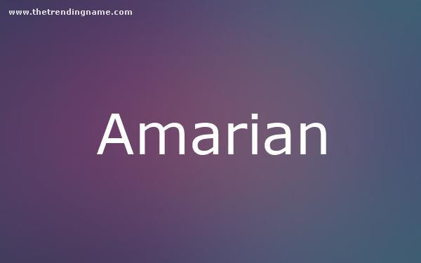 Baby Name Poster For Amarian