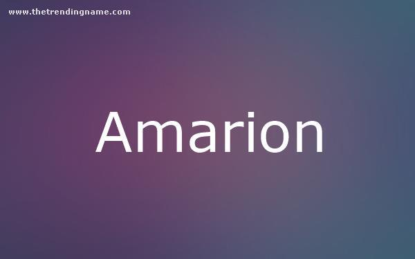 Baby Name Poster For Amarion