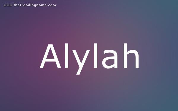 Baby Name Poster For Alylah