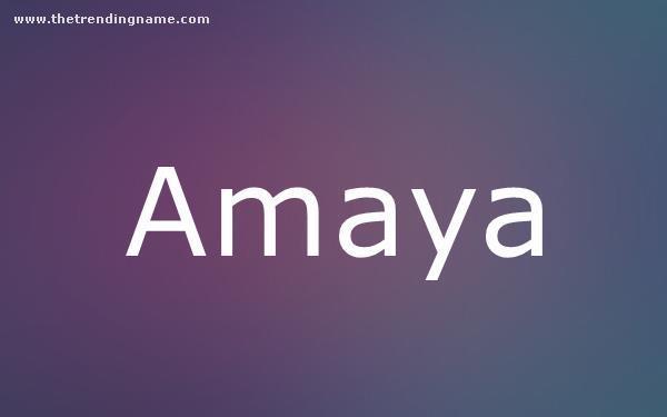 Baby Name Poster For Amaya