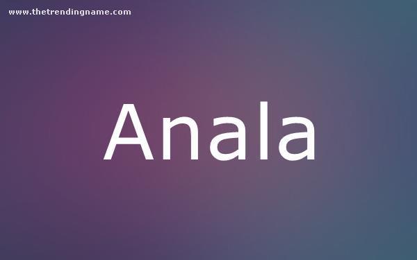 Baby Name Poster For Anala