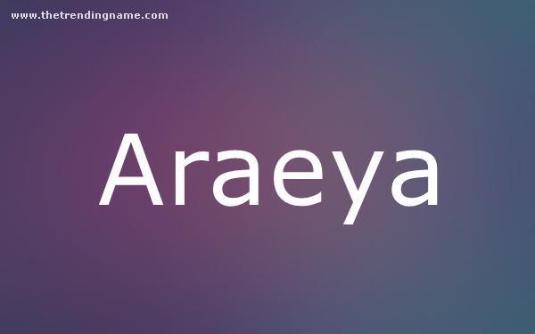 Baby Name Poster For Araeya