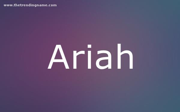 Baby Name Poster For Ariah