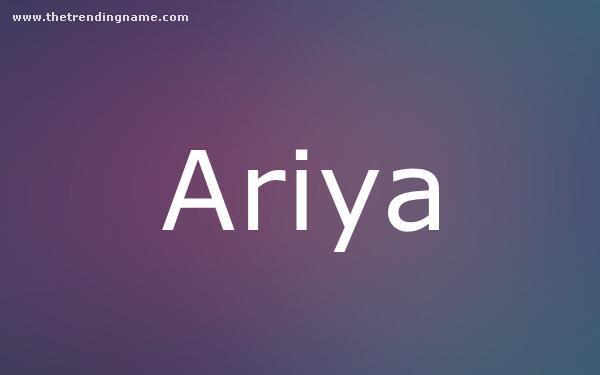Baby Name Poster For Ariya