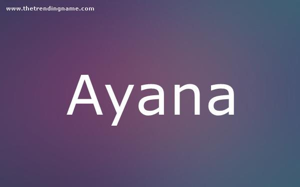 Baby Name Poster For Ayana