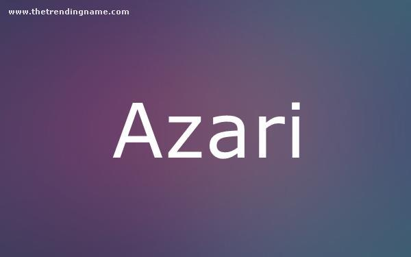 Baby Name Poster For Azari