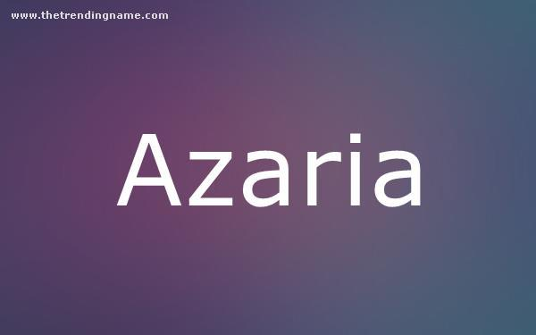 Baby Name Poster For Azaria