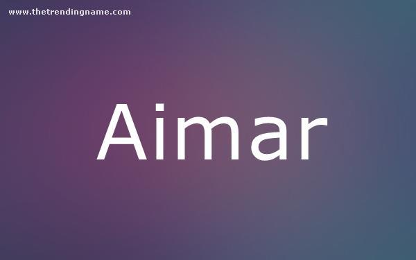Baby Name Poster For Aimar
