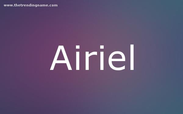 Baby Name Poster For Airiel