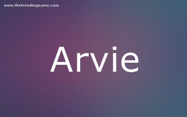 Baby Name Poster For Arvie
