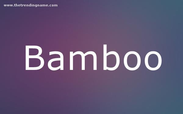 Baby Name Poster For Bamboo