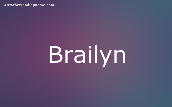 Baby Name Poster For Brailyn