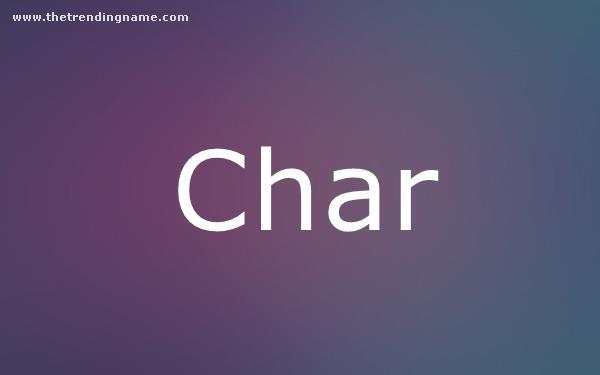 Baby Name Poster For Char