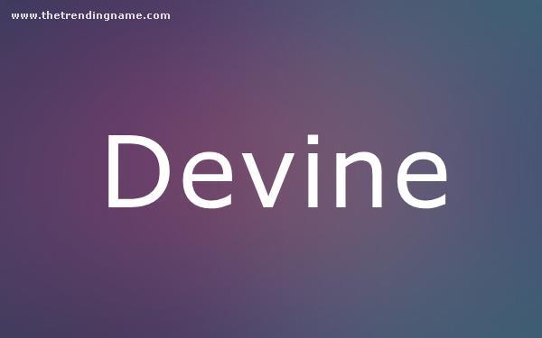 Baby Name Poster For Devine
