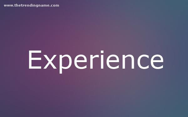 Baby Name Poster For Experience