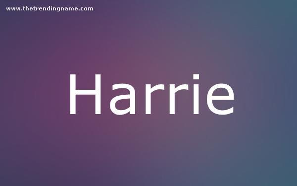 Baby Name Poster For Harrie