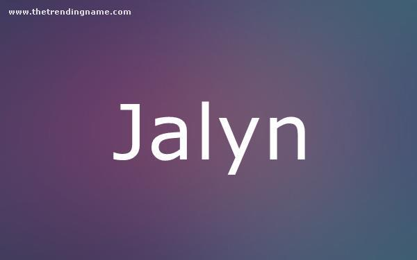 Baby Name Poster For Jalyn