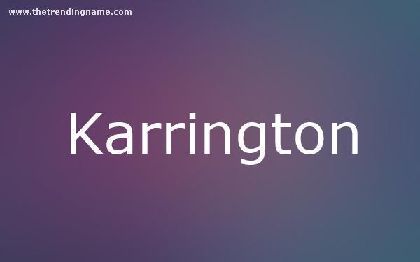 Baby Name Poster For Karrington