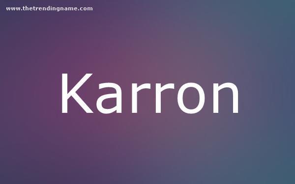 Baby Name Poster For Karron