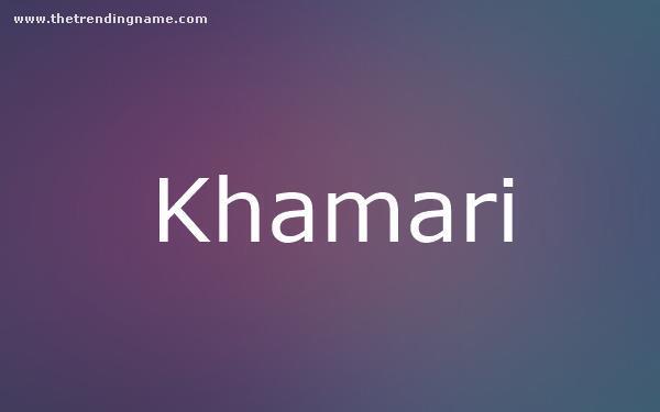 Baby Name Poster For Khamari