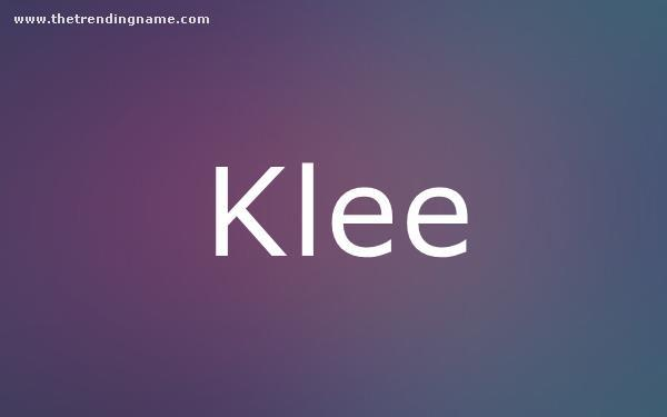 Baby Name Poster For Klee