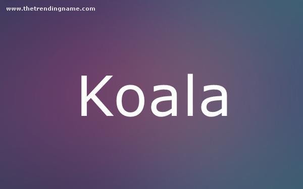 Baby Name Poster For Koala