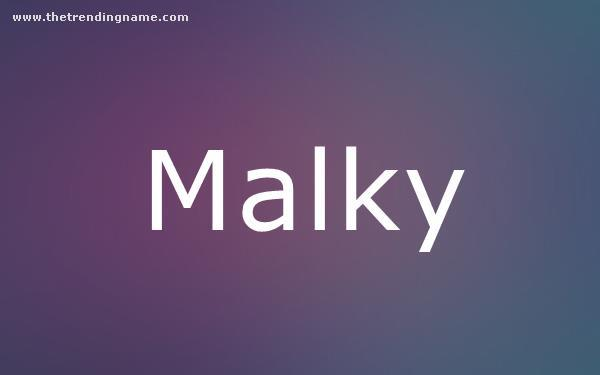 Baby Name Poster For Malky